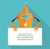 Caractère mignon de robot avec une bannière Image libre de droits