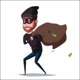 Caractère mignon de voleur Illustration de dessin animé de vecteur Photo stock
