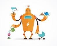 Caractère multitâche de robot Photographie stock libre de droits