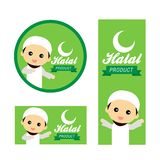 Caractère musulman mignon favorisant la viande halal illustration de vecteur