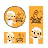 Caractère musulman mignon favorisant la viande halal illustration stock