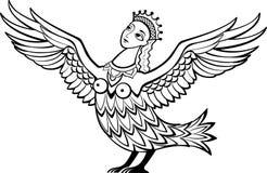 Caractère mythique Alkonost - créature avec le corps d'un oiseau et de la tête d'une belle femme Image stock