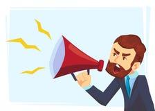 Caractère réussi d'homme d'affaires de barbe criant par le haut-parleur bruyant La parole de direction Illustration de concept d' illustration de vecteur