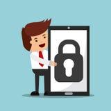 caractère réussi d'homme d'affaires avec l'icône d'isolement par smartphone illustration stock