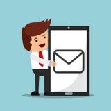 caractère réussi d'homme d'affaires avec l'icône d'isolement par smartphone illustration de vecteur