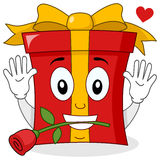 Caractère romantique de cadeau avec Rose rouge illustration libre de droits