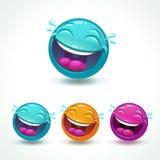 Caractère rond comique brillant drôle Emoji riant de visage illustration stock