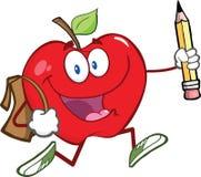 Caractère rouge d'Apple avec le sac d'école et le crayon Goe Images libres de droits