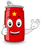 Caractère rouge de boîte de soude avec des pouces  Photos stock