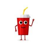 Caractère rouge de tasse de papier de boissons drôles et mignonnes de soude d'isolement sur le fond blanc Kola avec le visage hum Photos libres de droits