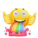 Caractère souriant jaune d'emoji de visage de bande dessinée avec le vomissement d'arc-en-ciel illustration libre de droits