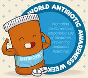 Caractère superbe de bouteille de médecine célébrant la semaine antibiotique de conscience du monde, illustration de vecteur illustration de vecteur