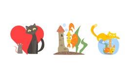 Caractères animaux drôles dans l'amitié différente de situations, de chat et de souris, poisson de capture de chat rouge dans le  illustration libre de droits