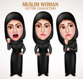 Caractères arabes musulmans fâchés de vecteur de femme avec des expressions du visage illustration de vecteur