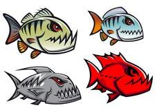 Caractères colorés de poissons de pirhana de bande dessinée Images libres de droits