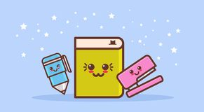 Caractères comiques mignons réglés de livre d'agrafeuse et de bande dessinée de stylo avec le style heureux de sourire de kawaii  illustration libre de droits