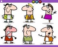 Caractères d'émotions de personnes de bande dessinée réglés Images stock