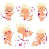 Caractères d'anges de cupidon Les enfants mignons romantiques de la Grèce d'eros de bébé de chasseur d'Amur avec la mascotte de v illustration libre de droits