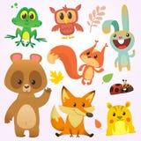 Caractères d'animal de forêt de bande dessinée Illustration de vecteur Grand ensemble d'illustration d'animaux de région boisée d illustration de vecteur