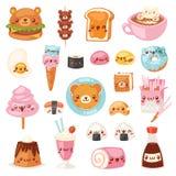 Caractères d'expression d'ours de bande dessinée de vecteur de kawaii de nourriture d'hamburger de prêt-à-manger avec l'émoticône illustration libre de droits