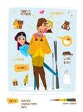 Caractères d'hiver réglés Photographie stock