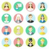 Caractères d'icônes d'opérateur de téléphone différent de professions, homme d'affaires, infirmière, scientifique, cuisinier, jug Photo stock