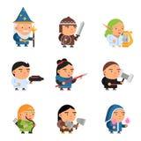 Caractères d'imagination 2d mâle de lutin de jeu et magiciens féminins de chevaliers de soldats de mascottes de tireur de RPG de  illustration de vecteur