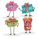 Caractères de boîte-cadeau réglés Différentes couleurs et mascottes d'émotions Collection de symboles d'anniversaire, de Noël et  Image stock