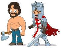 Caractères de chevalier et de bûcheron de bande dessinée réglés illustration de vecteur