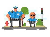 Caractères de compagnons de police illustration de vecteur