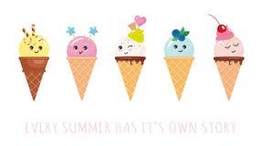 Caractères de cornet de crème glacée de Kawaii Bandes dessinées mignonnes d'isolement sur le blanc Images stock