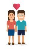 Caractères de couples avec amour de coeur Photos libres de droits