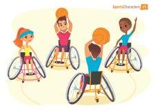 Caractères de Handisport Les garçons et les filles dans des fauteuils roulants jouant le baysball handicapent la vue de la premiè Photo stock