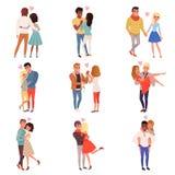 Caractères de jeunes hommes et de femmes dans l'amour étreignant l'ensemble, illustrations affectueuses romantiques heureuses de  illustration libre de droits
