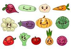 Caractères de kawaii de légumes illustration libre de droits