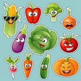 Caractères de légume de bande dessinée Émoticônes végétales collant Concombre, tomate, brocoli, aubergine, chou, poivrons, carott illustration libre de droits