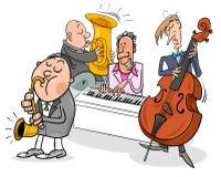 Caractères de musiciens jouant la musique de jazz Photos libres de droits