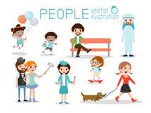 Caractères de personnes, grand groupe de personnes, les gens dans divers modes de vie illustration stock