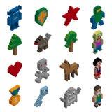 Caractères de pixel isométriques Image libre de droits