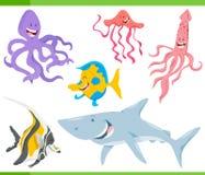 Caractères de poissons et d'animaux de vie marine réglés illustration libre de droits