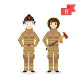 Caractères de profession : homme et femme sapeur-pompier illustration stock