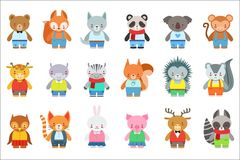 Caractères de Toy Kids Animals In Clothes réglés Illustrations puériles de style de bande dessinée mignonne d'isolement illustration libre de droits