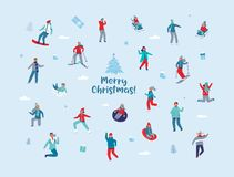 Caractères de vacances d'hiver Personnes heureuses dans le ski différent d'activités d'hiver, faisant du surf des neiges, patinag illustration stock