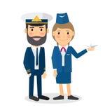 Caractères de vecteur de pilote et d'hôtesse illustration de vecteur