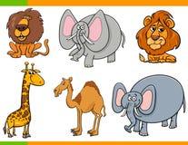 Caractères drôles d'animaux de safari de bande dessinée réglés Images stock