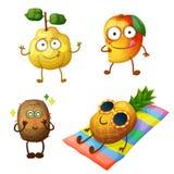 Caractères drôles de fruit d'isolement sur le fond blanc Emoji gai de nourriture illustration de vecteur