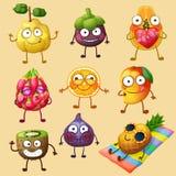 Caractères drôles de fruit d'isolement sur le fond blanc Emoji gai de nourriture illustration stock