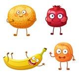 Caractères drôles de fruit d'isolement sur le fond blanc Emoji gai de nourriture illustration libre de droits