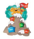 Caractères drôles de vente : lettres à la crête de la vente illustration stock