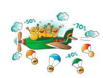 Caractères drôles de vente : lettres sur l'avion illustration de vecteur